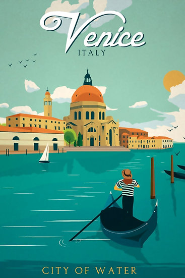 Venice Wall Art, City of Water, Venice Vintage, Travel Prints Digital Download