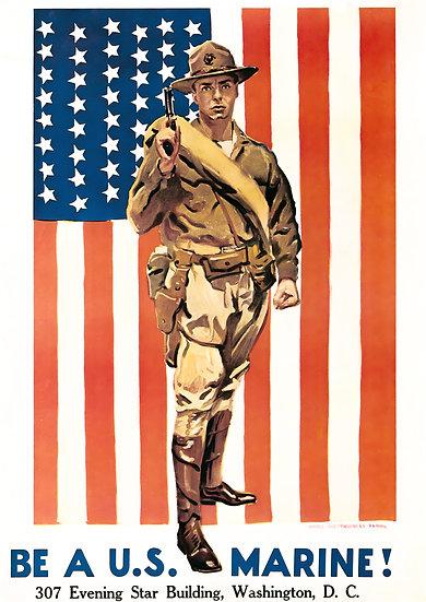 "WW1 US Marines Recruiting Propaganda Poster ""Be a U.S. Marine!"" Digital Download"