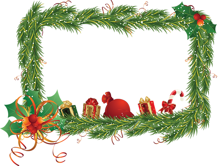 Christmas Frame with Gifts - Transparent Background, Digital Poster