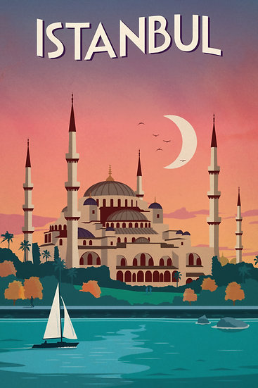 Istanbul Vintage Poster, Sultan Ahmed Mosque, Travel Wall Decor Digital Download