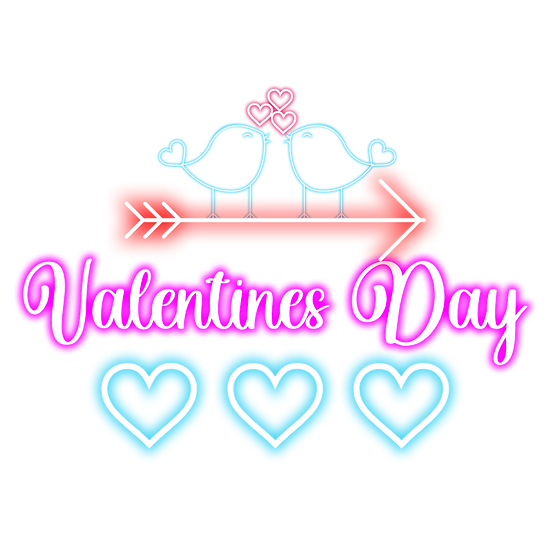 Valentine's Day Clipart with Birds - PNG Transparent Image - Instant Download