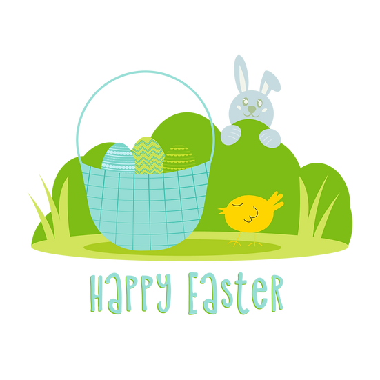 Cute Easter Greeting Card - Easter PNG Transparent Image - Instant Download