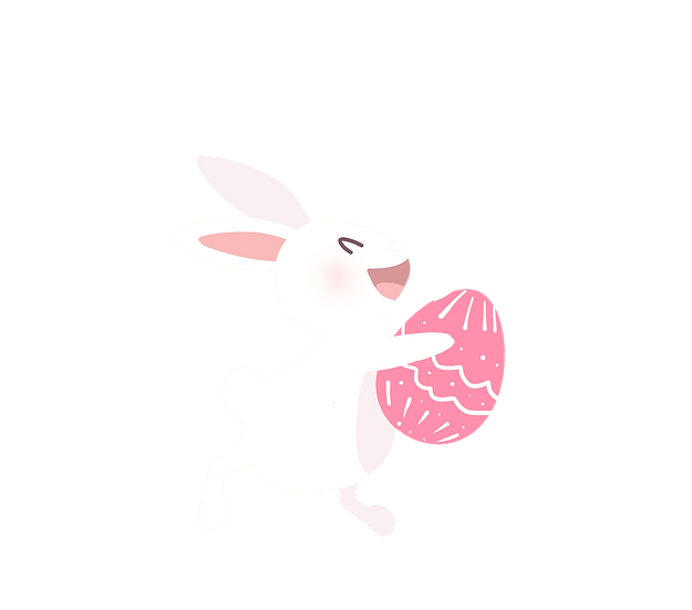 Happy Bunny Carrying Easter Egg - PNG Transparent Image - Instant Download