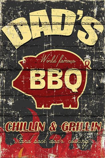 "Vintage Poster ""Dad's BBQ Chillin & Grillin"", Rustic Wall Decor Digital Download"