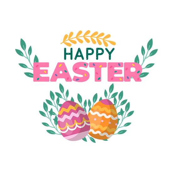 Happy Easter Beautiful Clipart - PNG Transparent Image - Instant Download