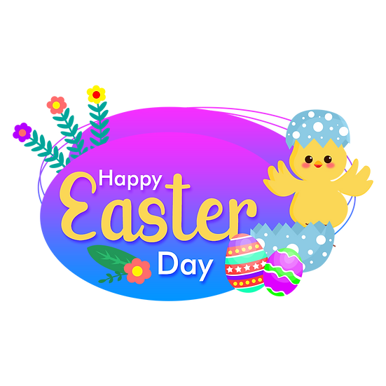 Cute Easter Greeting Card - PNG Transparent Image - Instant Download