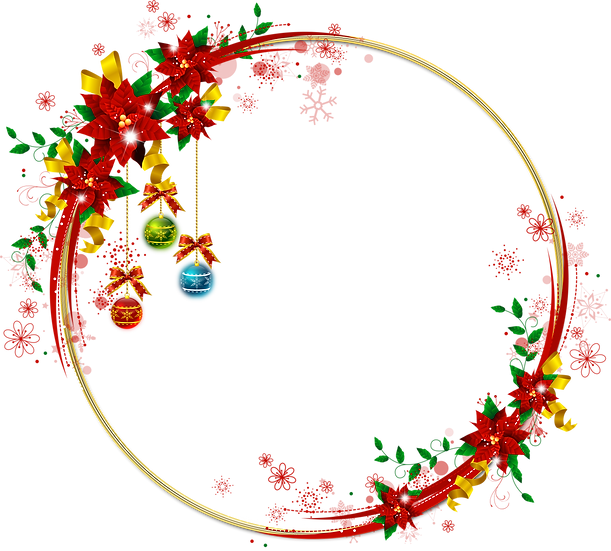 Christmas Frame with Flowers - Transparent Background, Digital Poster
