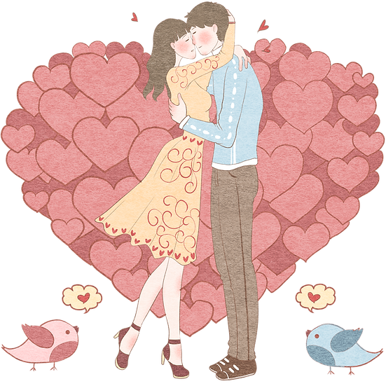 Kissing Couple with Birds - Valentine's Day Transparent Image - Instant Download