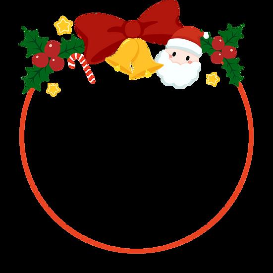 Cute Christmas Frame with Santa - Transparent Background, Digital Download