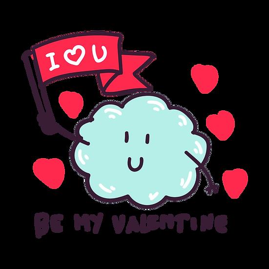 I Love U, Be My Valentine - Valentine's Day Transparent Image - Instant Download
