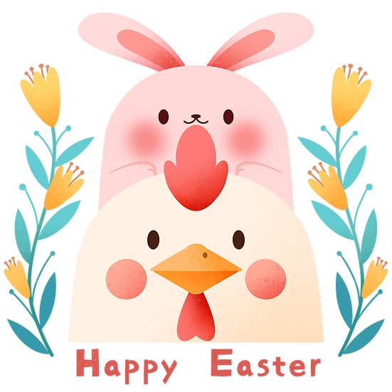 Easter Bunny and Chicken Clipart - Easter Transparent Image - Instant Download