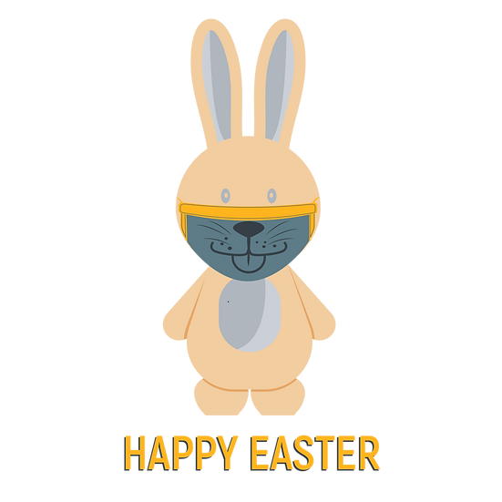 Easter Bunny Wearing Face Mask - PNG Transparent Image - Instant Download