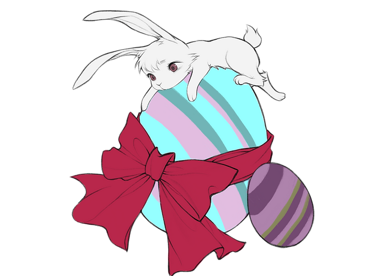 Cute Easter Bunny Clipart - Easter PNG Transparent Image - Instant Download