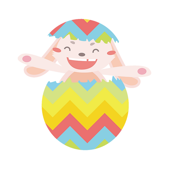 Cheerful Easter Bunny in the Egg - PNG Transparent Image - Instant Download