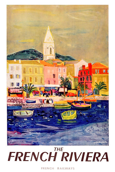 The French Riviera Vintage Art, French Railways, Travel Poster Digital Download