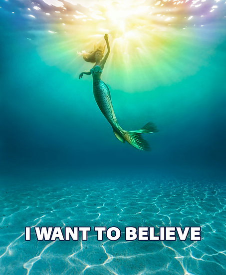 I Want To Believe Wall Art, Mermaid Poster, Mermaid Art Digital Download