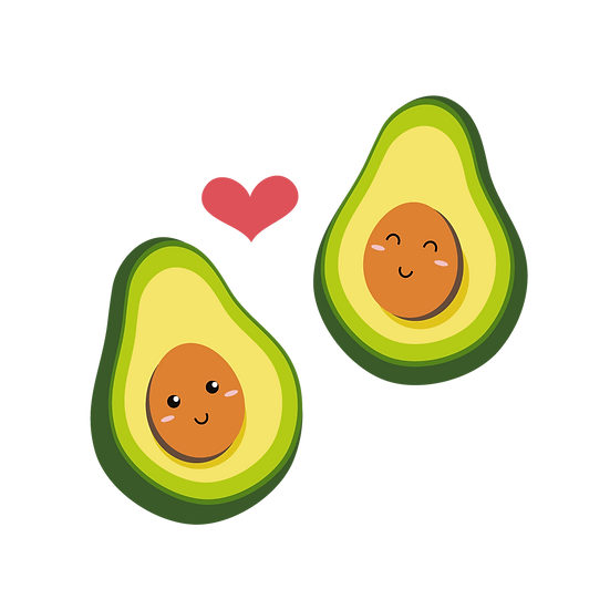 Avocado Love - Valentine's Day PNG Transparent Image - Instant Download
