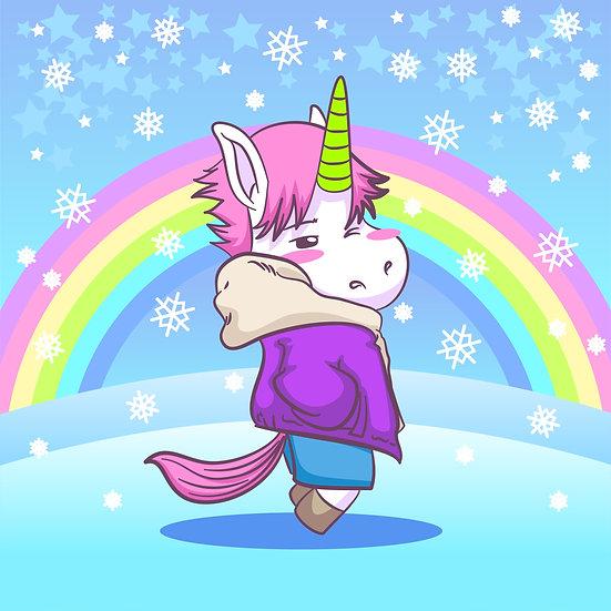 Unicorn and Rainbow Snow Printable Digital Files: SVG, PNG, DXF, AI, EPS, JPEG