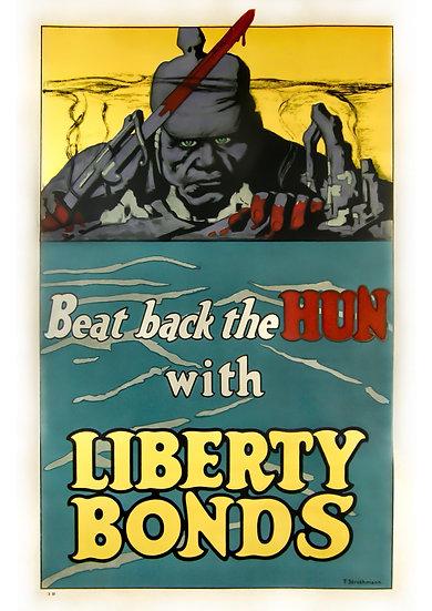 "WW1 US Propaganda Poster ""Beat Back the Hun with Liberty Bonds"" Digital Download"