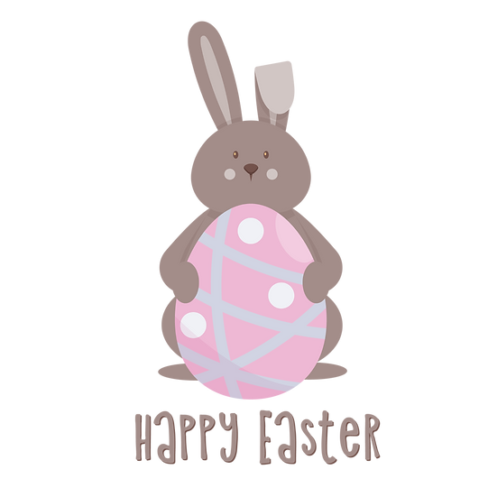 Cute Bunny with Easter Egg Clipart - PNG Transparent Image - Instant Download
