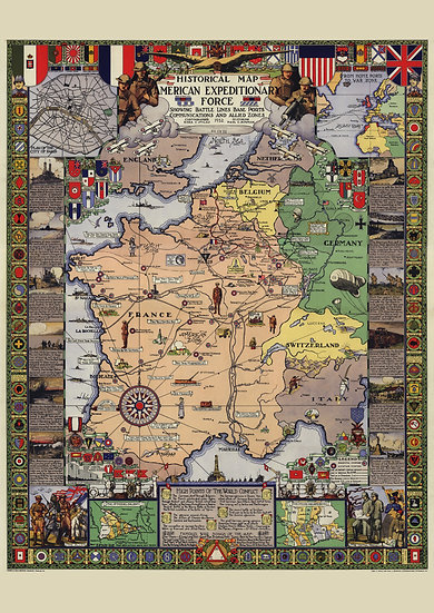 """Post WW1 Historical Map """"American Expeditionary Force"""" Digital Download"""