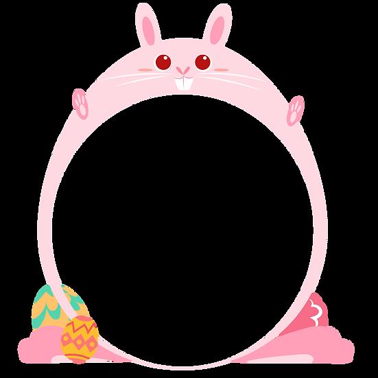 Easter Bunny Cute Frame - PNG Transparent Image - Instant Download