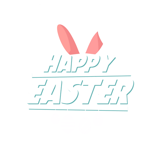 Happy Easter White Inscription - Easter PNG Transparent Image - Instant Download