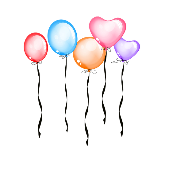 Balloons Clipart - Valentine's Day PNG Transparent Image - Instant Download