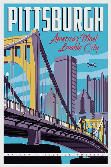 Pittsburgh Vintage Print, Pittsburgh Art, Travel Wall Decor Digital Download