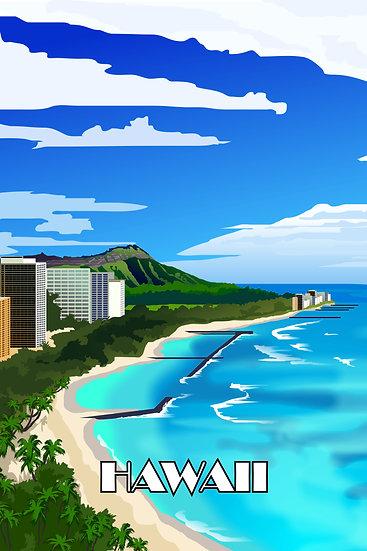 Hawaiian Beaches Vintage Poster, Hawaii Wall Art, Travel Prints Digital Download