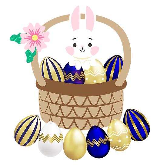 Easter Bunny in a Basket with Eggs - PNG Transparent Image - Instant Download