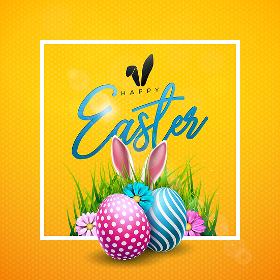 Happy Easter Bright Greeting Card - PNG Transparent Image - Instant Download