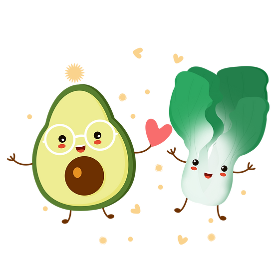 Avocado and Broccoli - Valentine's Day PNG Transparent Image - Instant Download