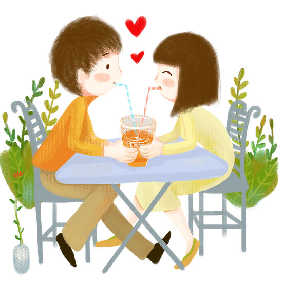 Cute Couple on a Date - Valentine's Day PNG Transparent Image - Instant Download