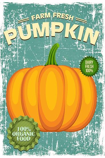 "Farmhouse Poster ""Farm Fresh Pumpkin"", Distressed Pumpkin Print Digital Download"