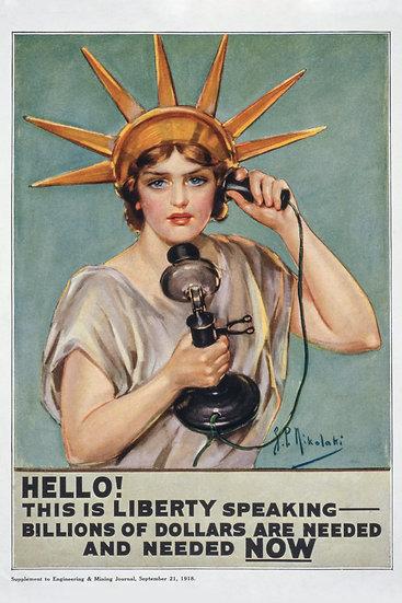 WW1 Statue of Liberty Woman Propaganda Poster Digital Download
