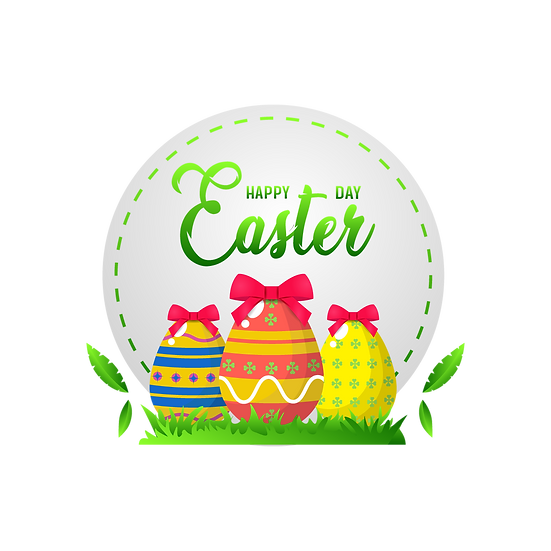 Happy Easter Day Greeting Card with Eggs - Transparent Image - Instant Download