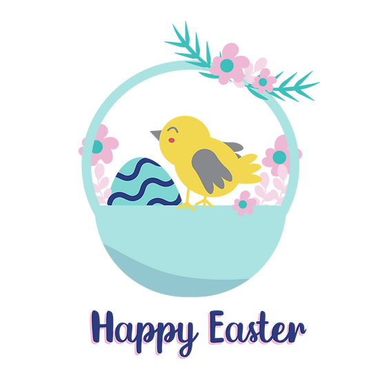 Easter Clipart with Bird and Basket of Eggs - PNG Image - Instant Download