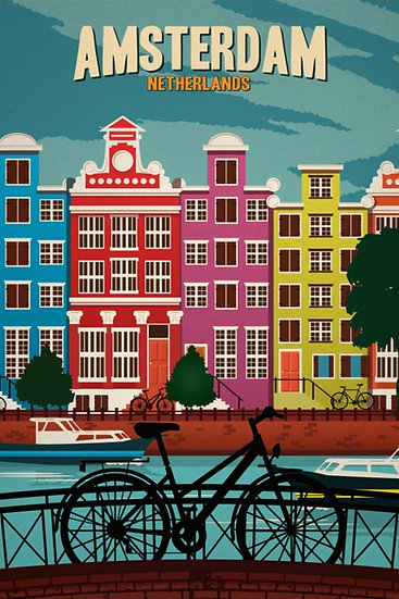 Amsterdam Netherlands Print, Amsterdam Wall Art, Travel Poster Digital Download