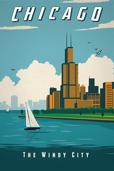 Chicago Vintage Art, The Windy City, Travel Wall Decor Digital Download