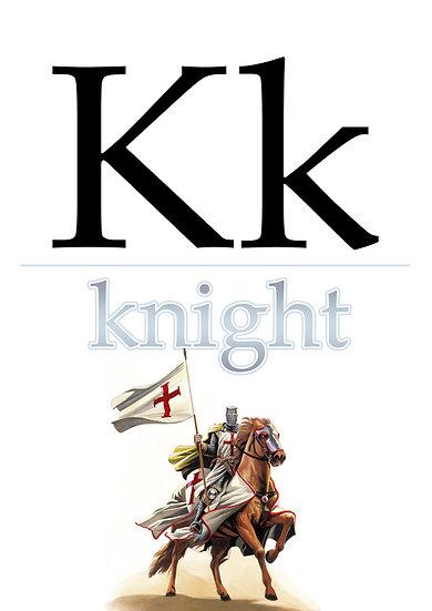 """Letter """"K"""", Printable Flash Cards, English Alphabet for Kids Digital Download"""