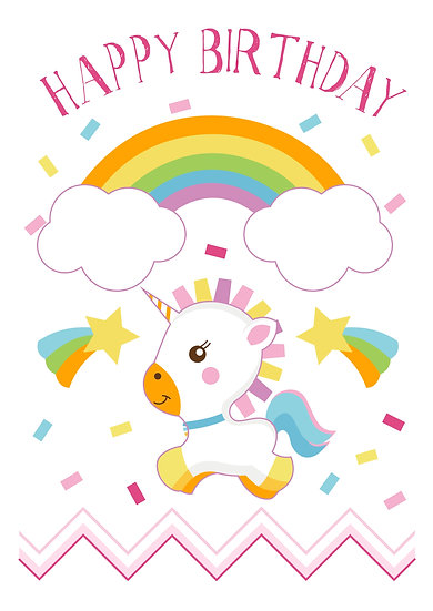 Unicorn B-day Celebration Printable Digital Files: SVG, PNG, DXF, AI, EPS, JPEG
