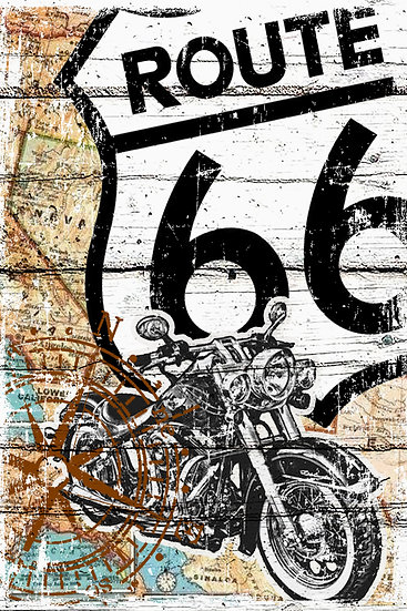 Route 66 Print, RT 66 Poster, Rustic Farmhouse Digital Download