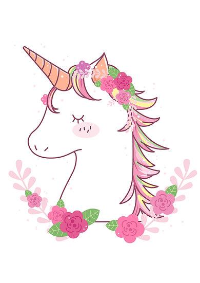 Flowered Unicorn Printable Digital Files: SVG, PNG, DXF, AI, EPS, JPEG
