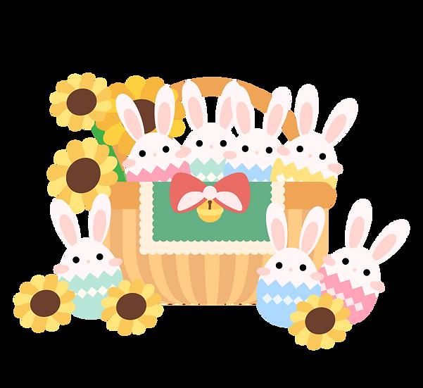Easter Basket Filled with Bunnies - PNG Transparent Image - Instant Download