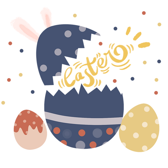 Easter Eggs Cute Clipart - PNG Transparent Image - Instant Download