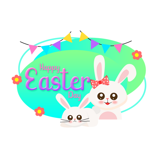 Adorable Easter Greeting Card - PNG Transparent Image - Instant Download