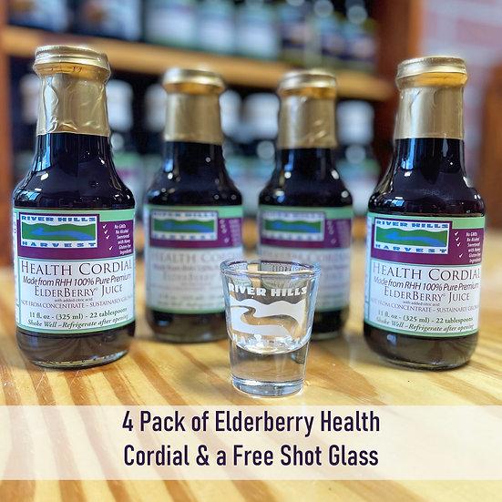 Free Shot Glass w/ 4pk of Health Cordial