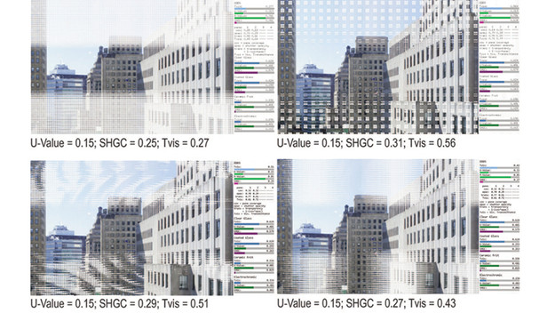 Examples of various EDDS pattern designs that meet criteria for view, U-value and SHGC (Krietemeyer, Andow & Dyson., 2015)