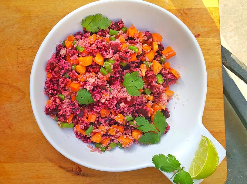 Salade de Millet à la Betterave, Carotte et Haricot Vert